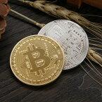 2枚セット ビットコイン シルバー ゴールド 仮想通貨 プラスチックケース付き メダル