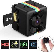 【SDカード付き】小型カメラミニカメラ1080P高画質長時間録画暗視機能動体検知機能音声記録機能防犯監視赤外線搭載バッテリー内蔵日本語取扱書