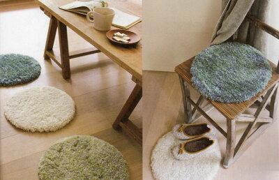 冷たい椅子や床をおしゃれに暖かく。( ラウンドチェアパッド 2枚セット ) 座布団 マット...
