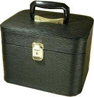 メイクボックス。 水シボ26cmヨコ ブラックお化粧入れ。特価販売!