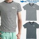 メール便 送料無料 7MILE OCEAN メンズ 半袖 Tシャツ プリント クルーネック ロゴ ワンポイント ボーダー グレー/黒 ホワイト/グレー 通販限定 S M L XL 大き目 大きい ビッグサイズ対応