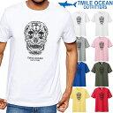 メール便 送料無料 7MILE OCEAN メンズ 半袖 Tシャツ プリント クルーネック 売れてる 人気ブランド スカル ドクロ 骸骨 柄 白 黒 グレー S M L XL XXL 大きいサイズ 夏物