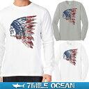 メール便 送料無料 7MILE OCEAN メンズ 長袖 tシャツ ロングTシャツ ロンT プリント インディアン indian ロゴ USA ウエスタン アメリカ アメカジ ストリート 白 グレー S M L XL XXL 大きいサイズ 春夏物 人気モデル