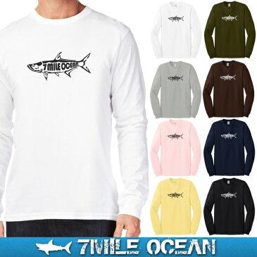 メール便 送料無料 ビッグサイズ 7MILE OCEAN メンズ 長袖 Tシャツ ロングTシャツ 無地 プリント ロゴ ターポン ルアー フライ フィッシング ゲームフィッシュ カッコいい アメカジ アウトドア
