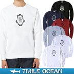 【エントリーで更にポイント10倍】7MILE OCEAN メンズ スウェット トレーナー スエット メンズファッション パーカー 無地 プリント カジュアル ロゴ 人気 ブランド サメ シャーク スカル トライバル クルーネック アメカジ アウトドア 男性 紳士 正規