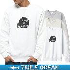 7MILE OCEAN メンズ トレーナー スウェット スエット トップス プリント ロゴ 人気ブランド アメカジ アウトドア ストリート ふんころがし 昆虫 開運 おしゃれ ヘビーウェイト 裏起毛 厚手 ホワイト グレー