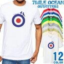 【エントリーで更にポイント10倍】7MILE OCEAN Tシャツ メンズ 半袖 カットソー アメカジ ターゲットマーク ラウンデル イギリス トリコロール 人気ブランド アウトドア ストリート 大き目 大きいサイズ ビックサイズ対応 12色