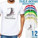 7MILE OCEAN Tシャツ メンズ 半袖 カットソー アメカジ 海 釣り シーバス ルアー フィッシング 平鱸 ソルト 人気ブランド アウトドア ストリート 大き目 大きいサイズ ビックサイズ対応 12色