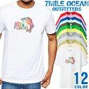 7MILE OCEAN Tシャツ メンズ 半袖 カットソー アメカジ ルアー フライ フィッシング ゲームフィッシュ gone fishing 人気ブランド アウトドア ストリート 大き目 大きいサイズ ビックサイズ対応 12色