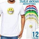 7MILE OCEAN Tシャツ メンズ 半袖 カットソー アメカジ キャラクター スマイル 人気ブランド アウトドア ストリート 大き目 大きいサイズ ビックサイズ対応 12色