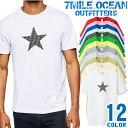 7MILE OCEAN Tシャツ メンズ 半袖 カットソー アメカジ 星 スター ラッキー 7 デザイン 人気ブランド アウトドア ストリート 大き目 大きいサイズ ビックサイズ対応 12色