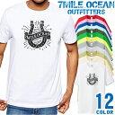 7MILE OCEAN Tシャツ メンズ 半袖 カットソー アメカジ ロゴ 蹄鉄 定番 人気ブランド アウトドア ストリート 大き目 大きいサイズ ビックサイズ対応 12色