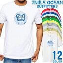 7MILE OCEAN Tシャツ メンズ 半袖 カットソー アメカジ フラッグ ロゴ 定番 人気ブランド アウトドア ストリート 大き目 大きいサイズ ビックサイズ対応 12色