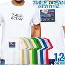 7MILE OCEAN Tシャツ メンズ 半袖 カットソー バックプリント 桜島 火山 登山 山岳 鹿児島県 ピッケル バックロゴ キャンプ 人気ブランド アウトドア ストリート 大き目 大きいサイズ ビックサイズ対応 12色