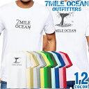 7MILE OCEAN Tシャツ メンズ 半袖 カットソー バックプリント ロゴ クジラ 鯨 デザイン サーフィン フィシング ダイビング マリン 人気ブランド アウトドア ストリート 大き目 大きいサイズ ビックサイズ対応 12色