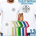 7MILE OCEAN Tシャツ メンズ 半袖 カットソー バックプリント 背面プリント アメカジ ロゴマーク シンプル デザイン 人気ブランド アウトドア ストリート 大き目 大きいサイズ ビックサイズ対応 12色