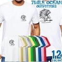【エントリーで更にポイント10倍】7MILE OCEAN Tシャツ メンズ 半袖 カットソー バックプリント 背面プリント アメカジ インディアン ウエスタン ネイティブ デザイン 人気ブランド アウトドア ストリート 大き目 大きいサイズ ビックサイズ対応 12色
