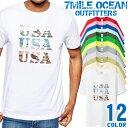 メンズ Tシャツ 半袖 プリント アメカジ 大きいサイズ 7MILE OCEAN USA