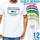 メンズ Tシャツ 半袖 プリント アメカジ 大きいサイズ 7MILE OCEAN サメ ロゴ ワンポイント