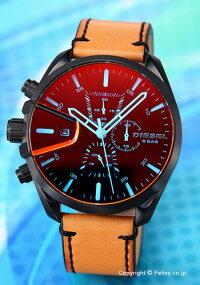 【DIESELディーゼル腕時計MS9CHRONO(エムエスナインクロノ)ブラックポラライザー/ライトブラウンレザーストラップDZ4471
