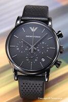 【EMPORIOARMANI】エンポリオ・アルマーニ腕時計ClassicChronographCollection(クラシッククロノグラフコレクション)オールブラック/ブラックレザーストラップAR1737