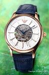 【EMPORIOARMANI】エンポリオアルマーニ腕時計ClassicCollectionMeccanico(クラシックコレクションメカニコ)ホワイトシルバー×ローズゴールド/ネイビーレザーストラップAR1947