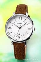 【FOSSIL】フォッシル腕時計JACQUELINE(ジャクリーン)シルバーホワイト/ダークブラウンレザーストラップES3708