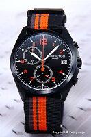 【HAMILTON】ハミルトン腕時計KhakiPilotPioneerChrono(カーキパイロットパイオニアクロノ)オールブラック(オレンジ)/ナイロンストラップH76582933