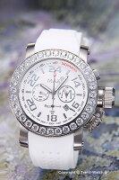 【MAXXLWATCHES】マックス腕時計Chronograph42mm(クロノグラフ)SS(クリスタルベゼル)ホワイト/ホワイトラバーストラップ5-MAX486