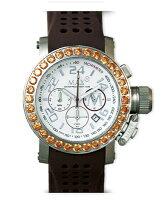 【MAXXLWATCHES】マックス腕時計Chronograph42mm(クロノグラフ)SSホワイト(Withラインストーン)/ブラウンラバーストラップ5-MAX515