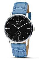 【MAXXLWATCHES】マックス腕時計Pionnier(パイオニア)ブラック/ライトブルーレザーストラップ5-MAX733