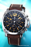 【SalvatoreMarra】サルバトーレマーラ腕時計ブラック(オレンジ)/ブラウンレザーストラップSM15105-SSBKOR