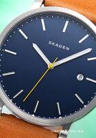 スカーゲンメンズ腕時計SKAGENハーゲンブルー/ナチュラルストラップSKW6279