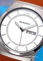 スカーゲン腕時計SKAGENメルビホワイトシルバー/ライトブラウンレザーストラップSKW6304【】