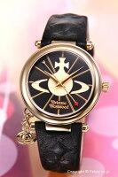 【VivienneWestwood】ヴィヴィアンウエストウッド腕時計OrbII(オーブ2)ブラック×ゴールド/ブラックレザーストラップレディスVV006BKGD