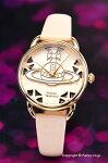 【VivienneWestwood】ヴィヴィアンウエストウッド腕時計Leadenhall(リーデンホール)ホワイトピンク×ゴールド/ホワイトピンクレザーストラップレディスVV163BGPK