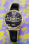 【VivienneWestwood】ヴィヴィアンウエストウッド腕時計Leadenhall(リーデンホール)ブラック×ゴールド/ブラックレザーストラップレディスVV163BKBK
