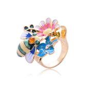 ブランドIUHA マルチフラワーガーデンリング 指輪 スワロフスキー社製クリスタル 金属アレルギーと変色防止 アクセサリー ギフト
