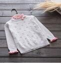 (イウハ) IUHA リボン付き フリル セーター 長袖 女の子 春秋冬 コットン 通学 普段着 通園