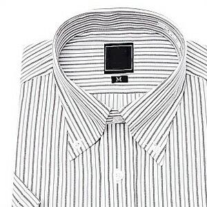 上質綿混 ボタンダウン Yシャツ 半袖 ワイシャツ 形態安定(トップ芯加工) メンズ ビジネス[グレー 白 ストライプ クールビズ スリム 大きいサイズ LL 3L 制服 カッターシャツ ドレスシャツ S・M・L・LL・3L おしゃれ 通販]【あす楽対応】
