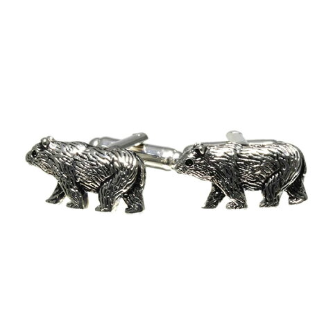 カフスボタン 熊 シルバー 彫刻風 動物 アニマル cufflinks カフリンクス メンズアクセサリー CF-156385[M便 1/10]