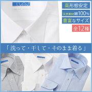 ワイシャツ イージーケア アイロン ビジネス リクルート フォーマル コットン ホワイト チェック ストライプ