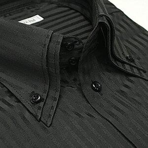 【美しいブラックストライプ】 襟高デザイン ドレスシャツ 長袖 ワイシャツ Yシャツ 形態安定(トップ芯加工) メンズ 長袖ワイシャツ ビジネス 結婚式[黒 ストライプ 2枚衿 ボタンダウン スリム 大きいサイズ LL 3L 春 夏 クールビズ カッターシャツ 制服][あす楽]