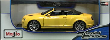 Bentley Continental Supersports Convertible Yellow 1/18 Maisto 2455円【 ミニカー ベントレー コンチネンタル スーパースポーツ 黄色 イギリス車 VIP 高級車】【コンビニ受取対応商品】