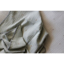 予約販売6/7まで3重ガーゼブランケット星と月の刺繍(ミント×グレー)Sサイズ