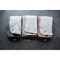 6重ガーゼブランケットさくらんぼの刺繍Sサイズ