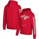 """メンズ フーディ """"San Francisco 49ers"""" Mitchell & Ness Three Stripe Pullover Hoodie - Scarlet"""