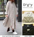 D*g*y(ディージーワイ)リネンオックスAラインシャツワンピース/前開き/長袖/羽織り/ナチュラル/天然素材