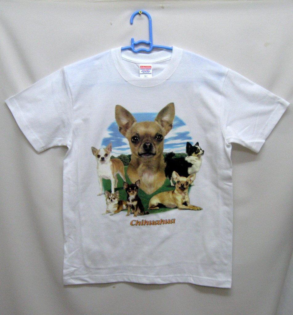 チワワ柄の半袖Tシャツです(集合)