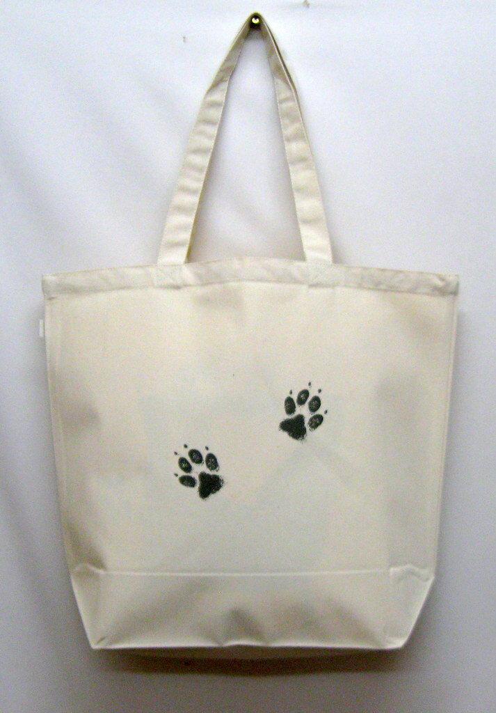 ダルメシアン柄の、たっぷりサイズ、厚手のトートバッグ(大)です。(R-07)/ドッグ/犬/イヌ